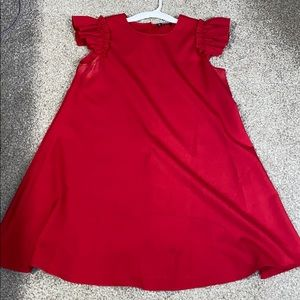 Cute red dress with flutter sleeves